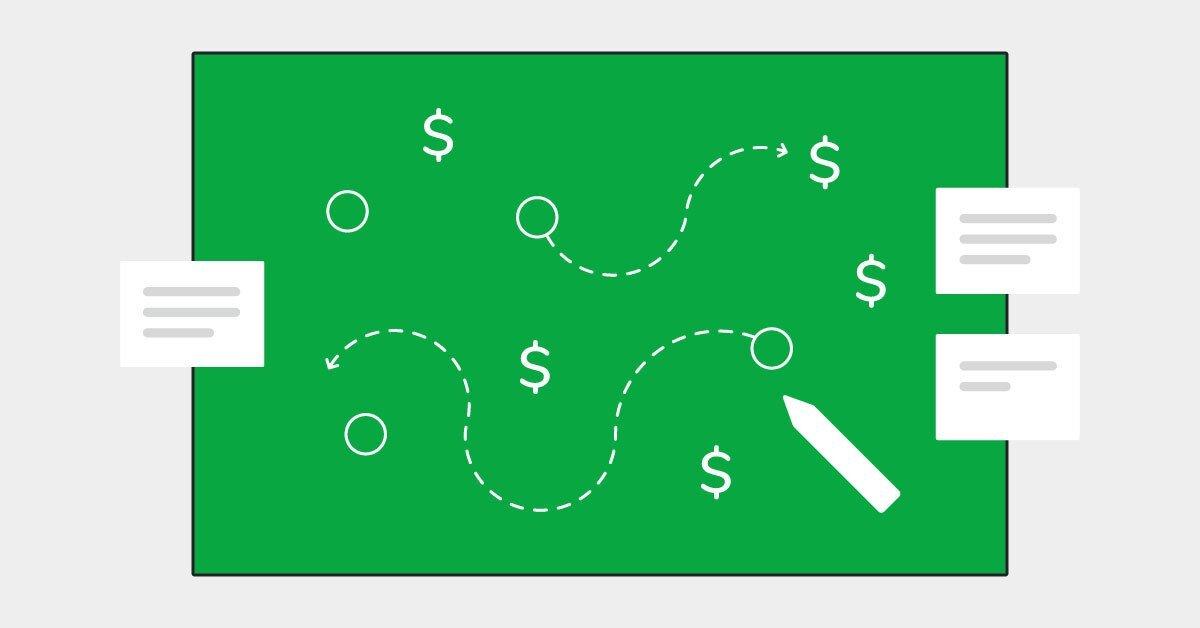 Una pizarra verde con una estrategia dibujada en blanco para ayudar a tu equipo de ventas a lograr cerrar más tratos