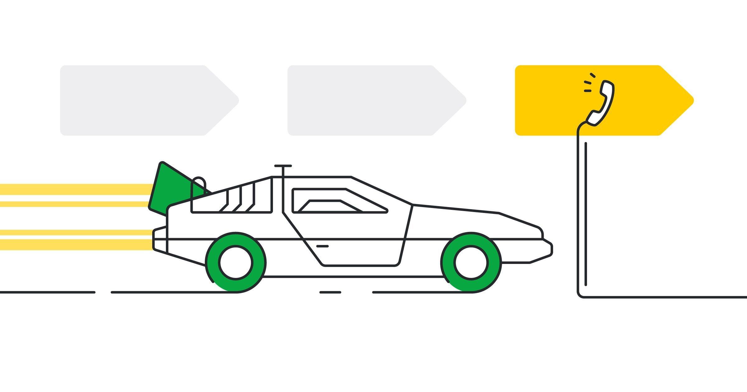 """""""Carro deportivo modelo Delorean viajando en una autopista que dirige a prospectos de venta calificados"""
