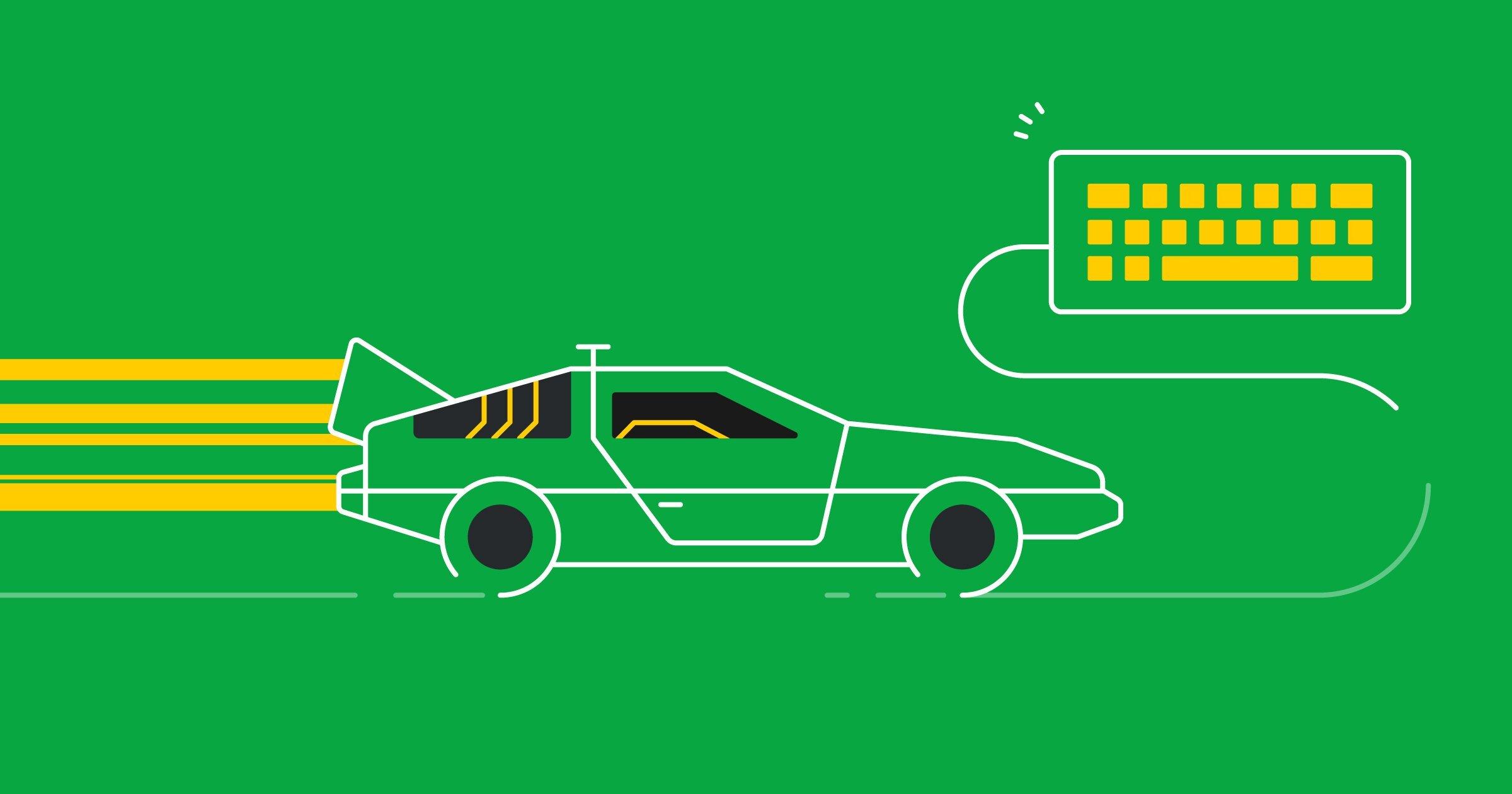 Carro deportivo viajando a alta velocidad con todo su equipo de ventas