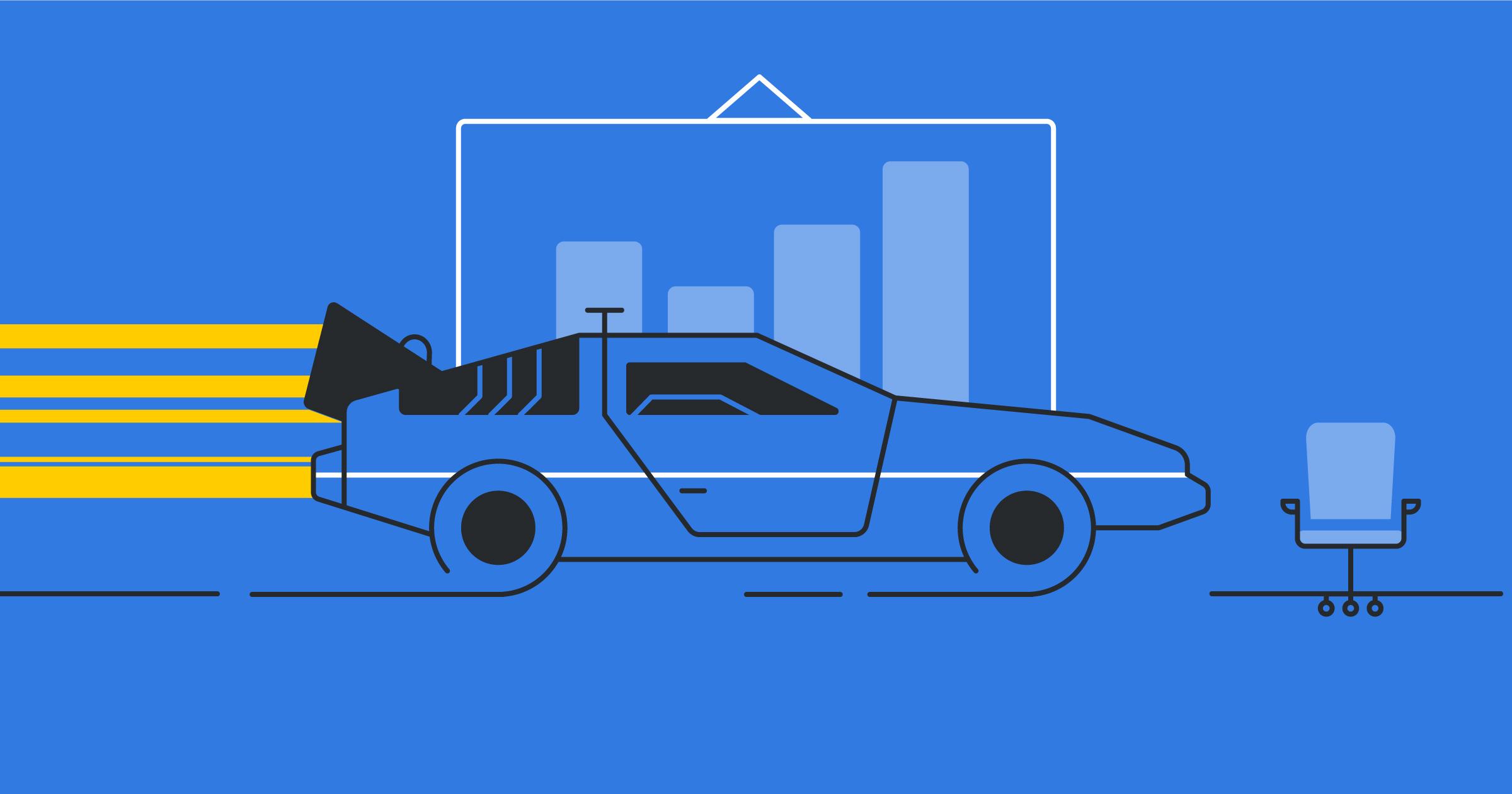 Carro deportivo modelo Delorean cruzando una pista en forma de embudo de ventas