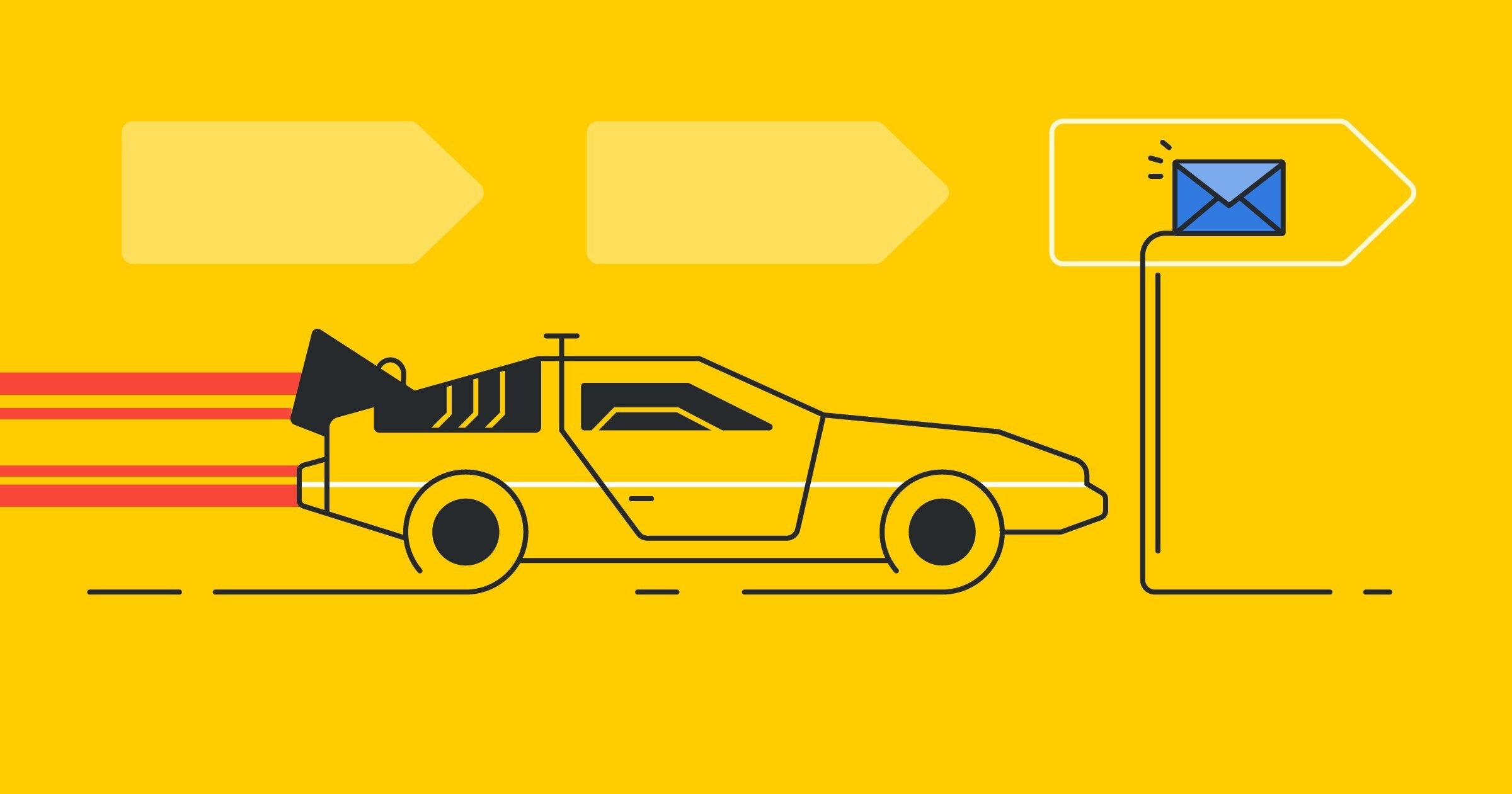 Carro deportivo que lleva correspondencia a clientes potenciales rápidamente