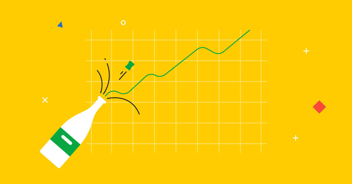 Gráfica de líneas blanca en un fondo amarillo demostrando una mejora de rendimiento de tu equipo de ventas