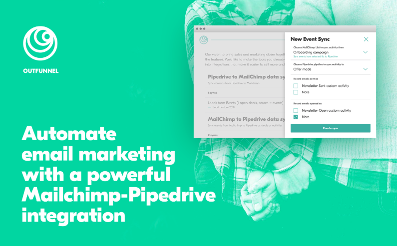 Outfunnel and Mailchimp-Pipedrive integration