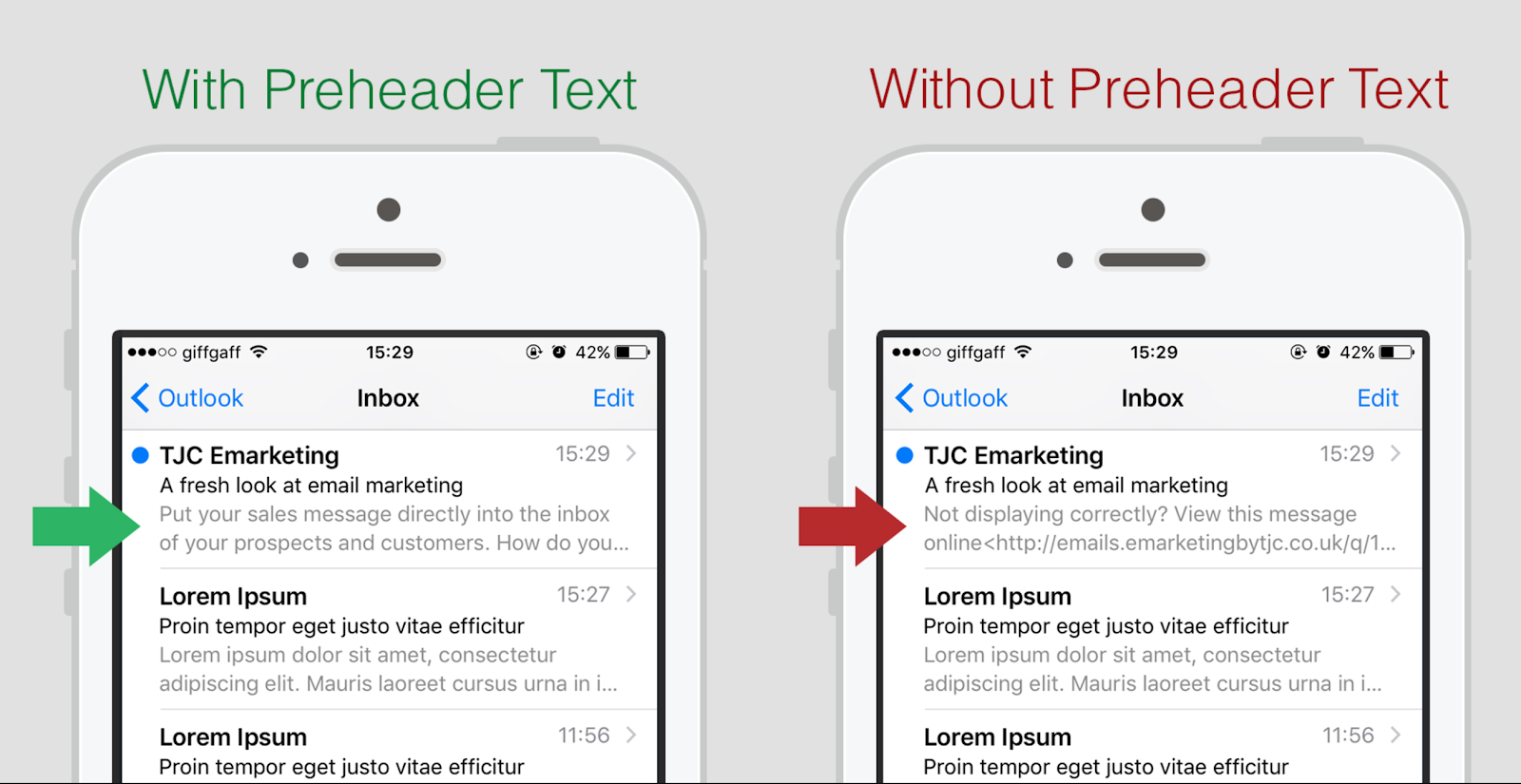 with preheader text vs. without preheader text