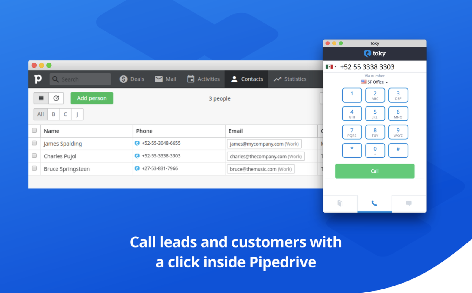 Pipedrive Toky integration