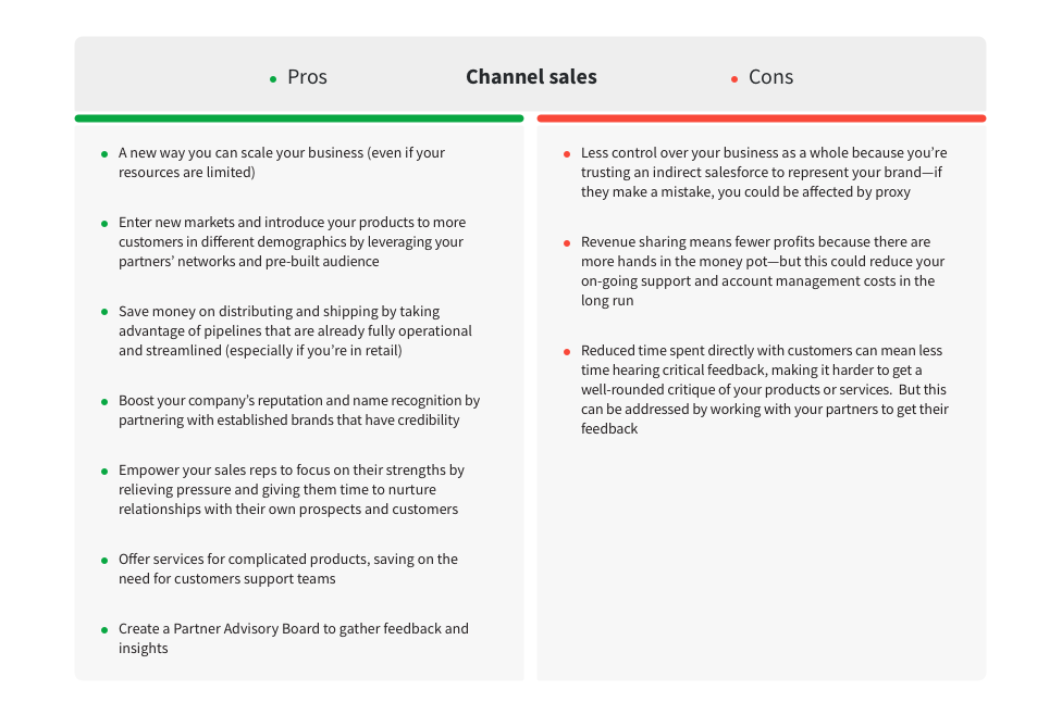 channel sales pros cons