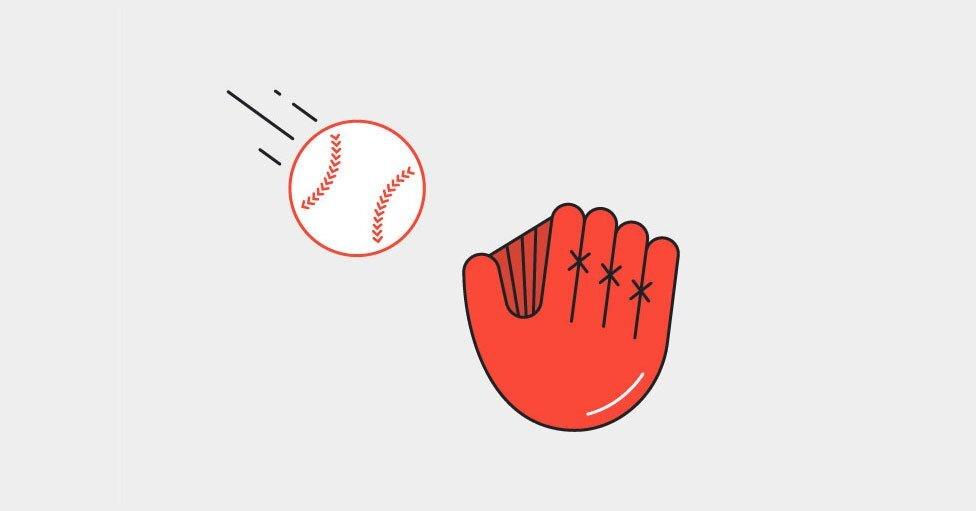 guante de baseball color naranja atrapando una bola e