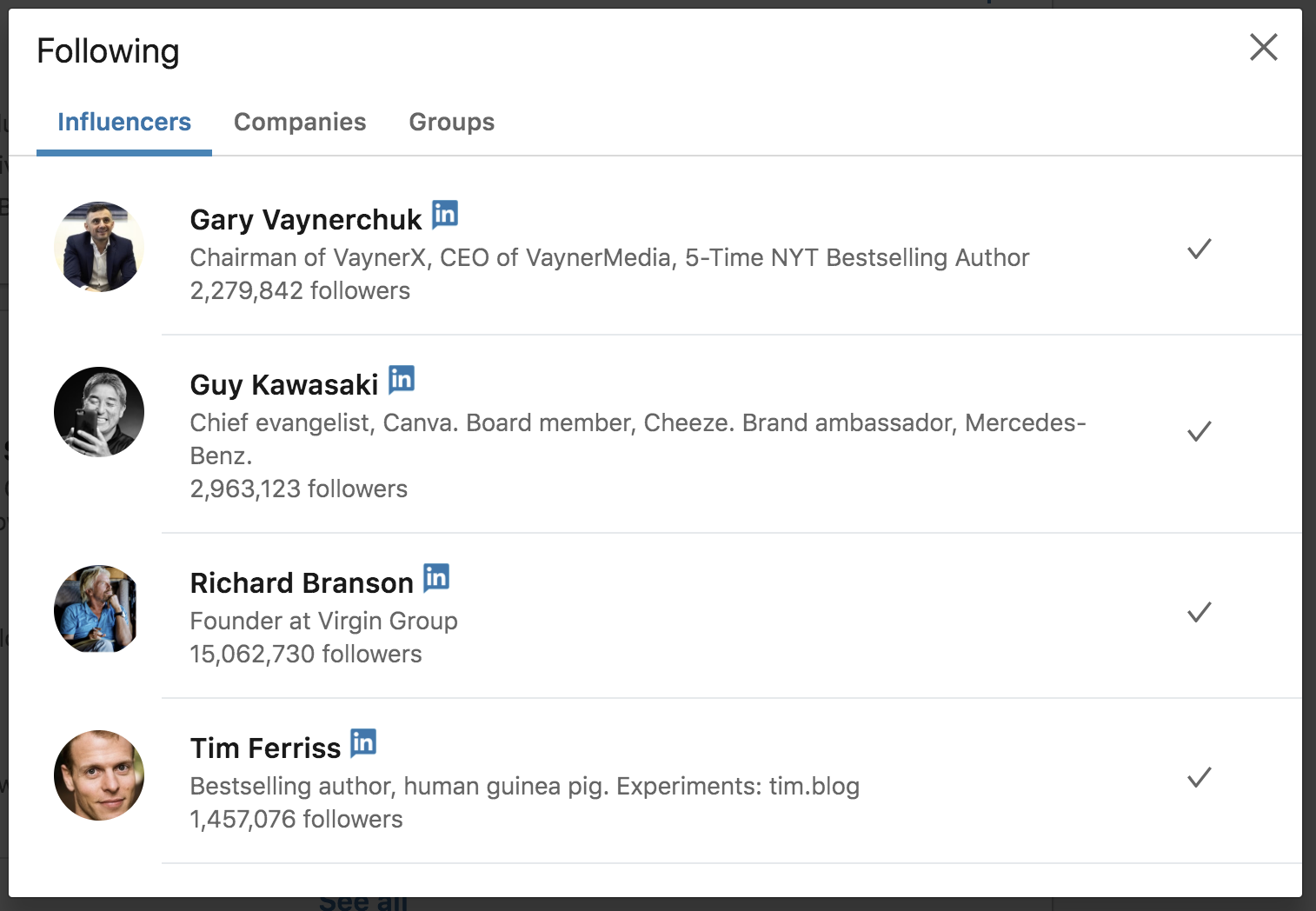 LinkedIn sales influencers