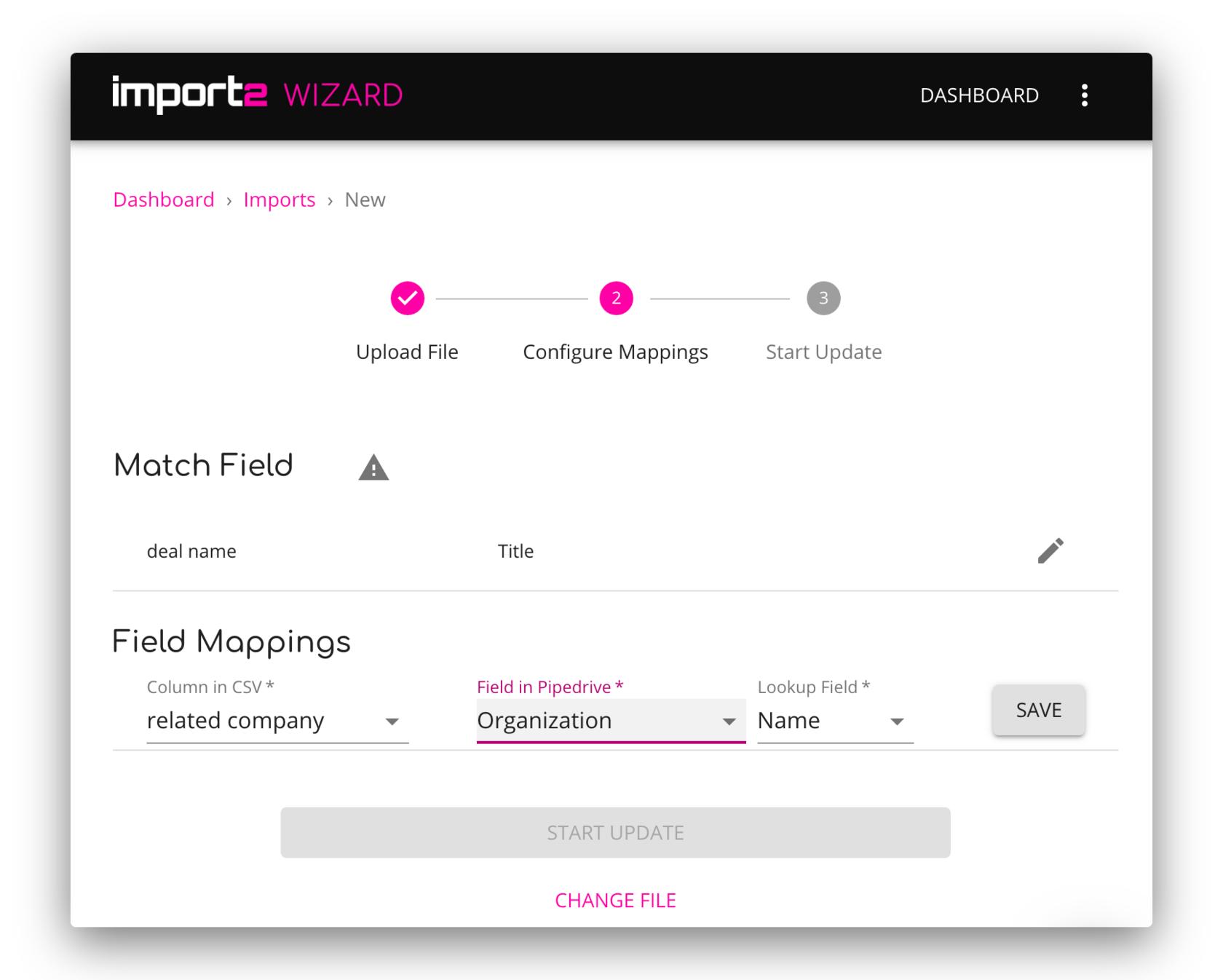Import2Wizard dashboard