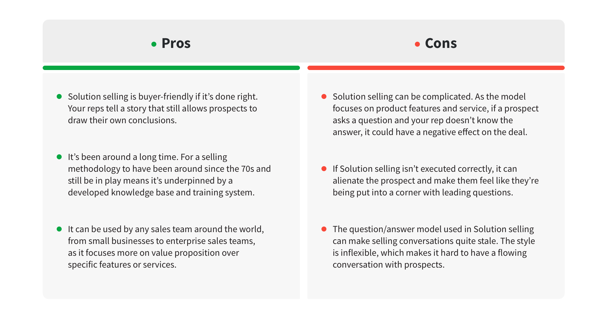 solution selling pros and cons